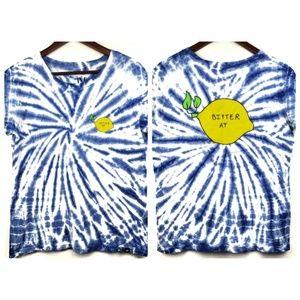 Jac Vanek Bitter AF Tie Dye Tshirt Blue Lemon